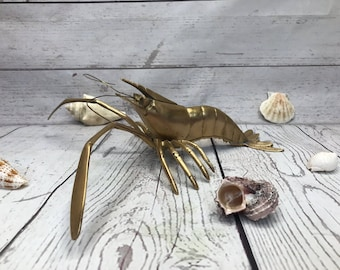 Vintage Brass Shrimp | Nautical Prawn Crustacean Shellfish Ocean