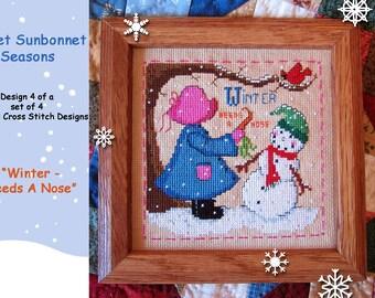 """SWEET SUNBONNET SEASONS-design 4 of a set of 4 - """"Winter - Needs A Nose"""" cross stitch chart graph pattern"""