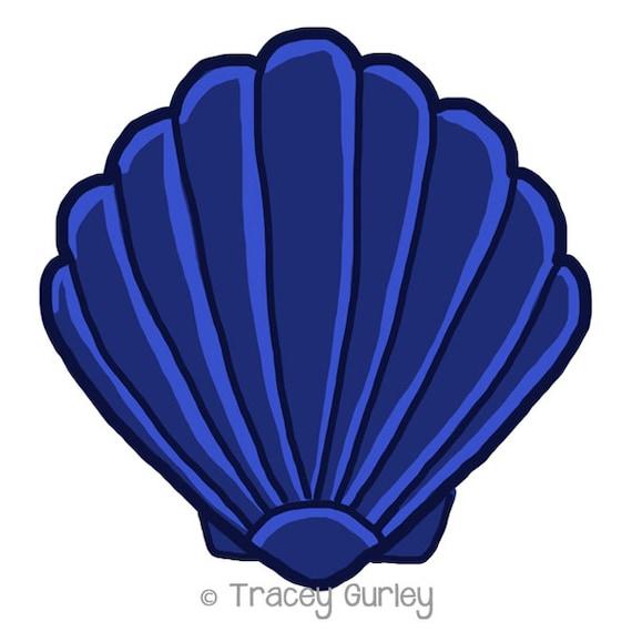navy scallop shell original art download 2 files scallop