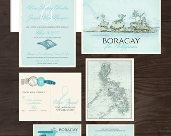Destination wedding invitation Boracay Island The Philippines Filipino Wedding Blue bilingual illustrated wedding invitation Deposit Payment