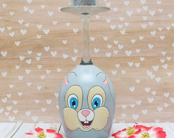 Easter Bunny Wine Glass Tea Light Candle Holder READY TO SHIP Rabbit Gray Grey Spring Decor Easter Decor Hand Painted