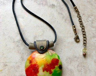 Raku inspired pendant , boho necklace