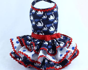 Dog Dress, Dog Harness Dress, Dog Fashion for Small Dog, Summer Dress for Dogs, Ruffle Dress, Handmade, Custom Dog Dress, Blue, Swan