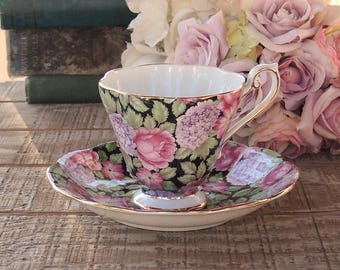 English Royal Standard Floral Chintz Teacup and Saucer, Fine Bone China, Tea Cup Saucer Duo, Tea Parties, Get Well Soon Gift