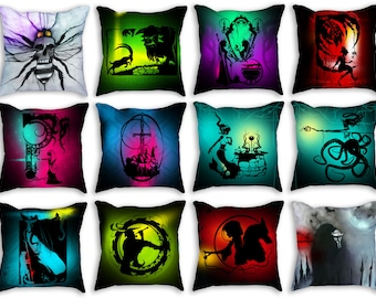 "Throw Pillows stuffed 18""x18"" double sided - Featuring work from my original hand cut paper art & charcoal illustrations"