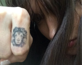 Lion Temporary Tattoo. Lion Head Knuckle Tattoos. Different Sizes