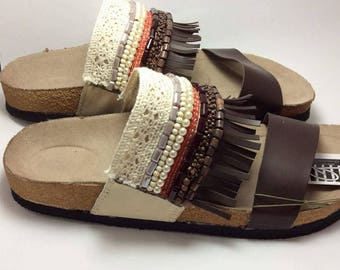 Platform Sandals, Bohemian Sandals, Wedge Sandals, Brown Sandals, Beaded Sandals, Boho Sandals, Handmade Sandals, Womens Sandals