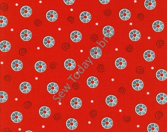 Bobbins Red by Dana Brooks - Henry Glass Fabrics 9710-88 (sold by the 1/2 yard)