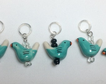 Blue Bird Knitting / Crochet Stitch Markers - Set of 5