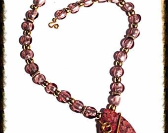 Handmade MWL venetian glass necklace. 0119