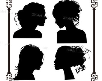 Heads silhouette digital clipart vector eps png files Clip Art Images Instant Download