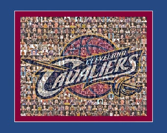 Cleveland Cavaliers Mosaic Print Art Including over 70 of the Greatest Cavalier Player Photos from the Past 40 Years. Free Shipping