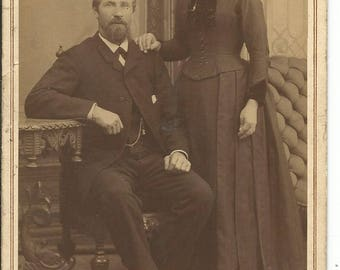 Antique 1900's Cabinet Photograph of Husband and Wife  in all Black Turn of the Century
