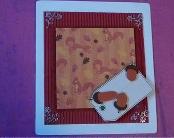 Handmade Squirrel card with a textured finish, 6x6 any occasion card