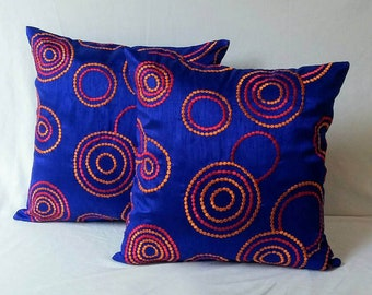 Cobalt blue pillow cover  orange and red retro circle embroidery decorative pillow, throw pillow, accent pillow, royal  blue pillow 12 inch