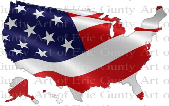 US Map American Flag Birthday - Edible Cake and Cupcake Topper For Birthday's and Parties! - D22936