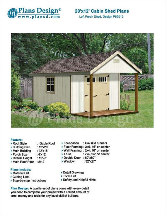20 x 12 Cabin Guest House Building Covered Porch