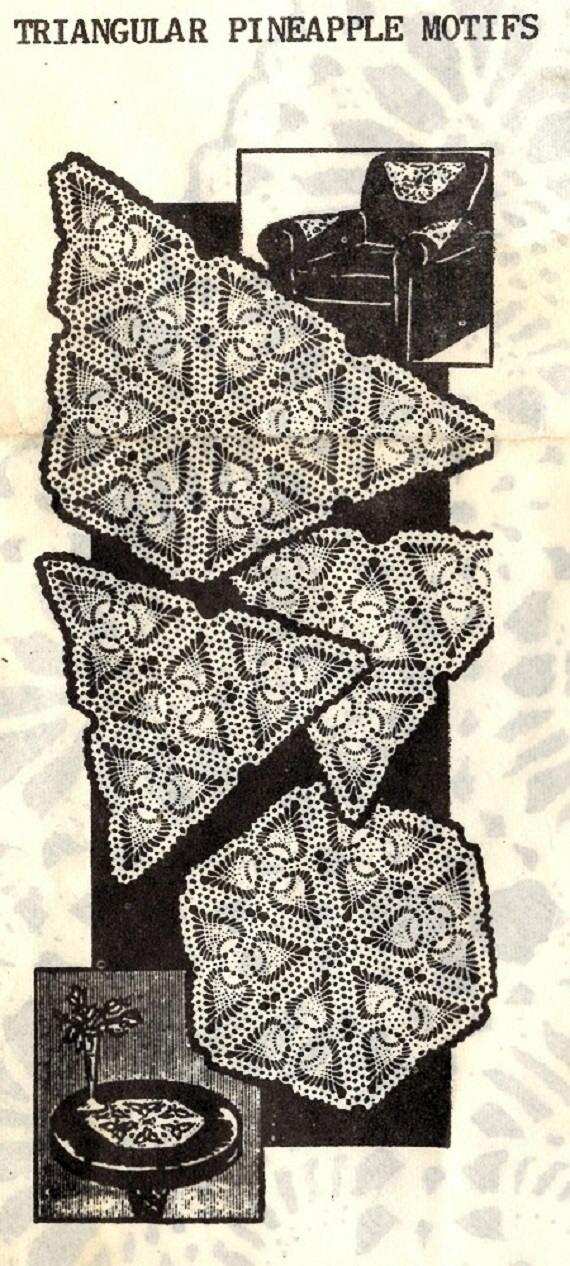 Vintage crochet pattern 5276 triangle motif pineapple design 5 dt1010fo