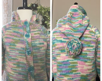 Hand Knit Pastel Hooded Girl's Sweater, Size 2-3