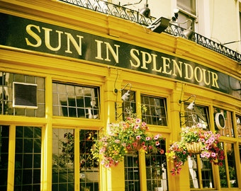 London Pub, London Photography, Sun in Splendour, Notting Hill, Portobello Road, Fine Art Print, Pink Flowers, Yellow, Kitchen Decor