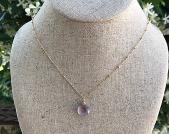 Amethyst Broilette Necklace 14k Gold Filled Chain