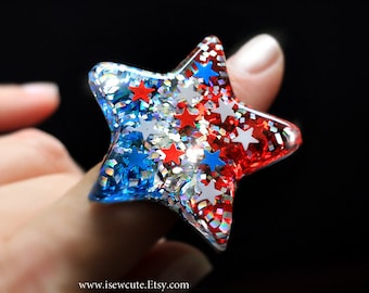 Star Ring, red, white, blue glitter &  stars, patriotic July 4th inspired, hand cast resin jewelry made in the USA by isewcute