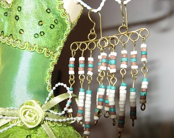 "Earrings ""Cascade ceramic"" green and beige"