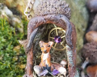 Miniature Fox Necklace, Red Fox Necklace, Steampunk Necklace, Hand Painted Clay Necklace, Woodland Wedding Jewelry, Gifts for Her