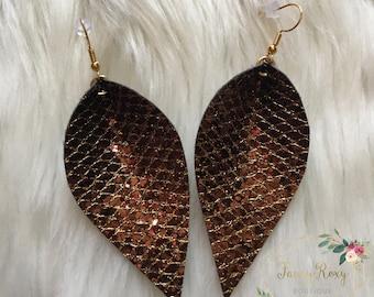 Brown Glitter Lattice Earrings