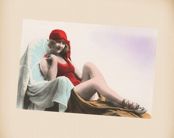 Art Deco Bathing Beauty New 4x6 Vintage Postcard Image Photo Print BB19
