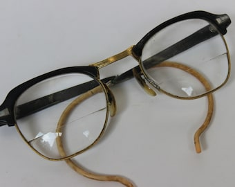 Vintage Gold Filled Glasses Bausch And Lomb 6 1/4 22-48 Black Buddy Holly Club Master Wraparound Arms