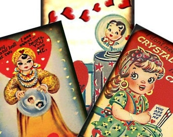 Vintage Gypsy Fortune Teller Valentine 2.5x3.5 Digital Collage Sheet witch hang tags greeting cards postcard ATC ACEO - U Print 300dpi jpg