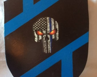 Wooden Shield With Punisher Logo On Front
