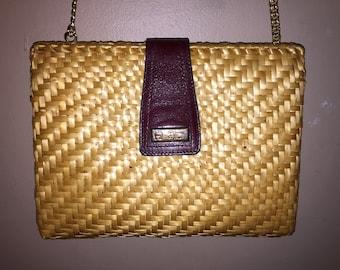 ETIENNE AIGNER Vintage Oxblood Leather/Wicker Shoulder Bag 9 x 7 x 2.5 ITALY