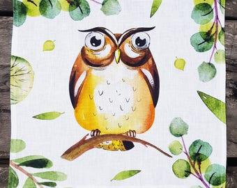 Cute Owl Linen Napkin. Kids Napkin. Flax Napkin