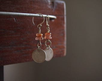 Silver and Sunstone earrings. Sunstone earrings. Long Silver earrings