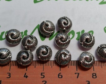 20 pieces a pack of 9x5mm Reversible Nautilus Beads Antique Silver Finish Lead Free Pewter