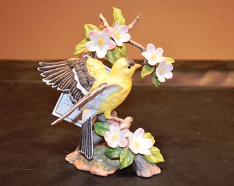 Vintage Home Interiors 1994 Masterpiece Porcelain One of a Series~Birds of the Season Collectible Figurine ~ Goldfinch