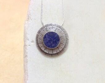 Sodalite pendant , Sterling silver pendant , handmade , Blue necklace ,  sodalite ,  gemstone , Blue sodalite , gift for her