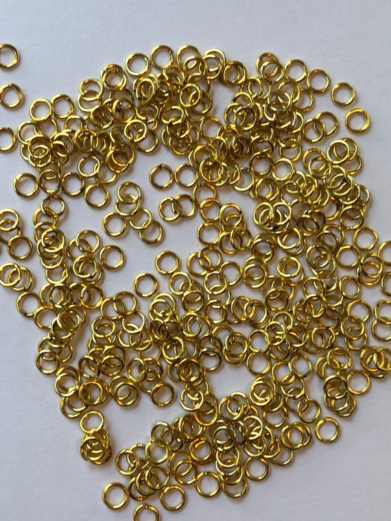 25 Grams of Metal Jewelry Findings - Jumprings, 4.5mm OD, 3mm ID, 22 Gauge, Open Rings, Gold Color, Beading, Small Size, Base Metal