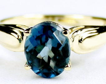 London Blue Topaz, 14Ky Gold Ring, R058