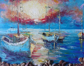 Fishing boats 30/40 sm Original oil painting on canvas board.