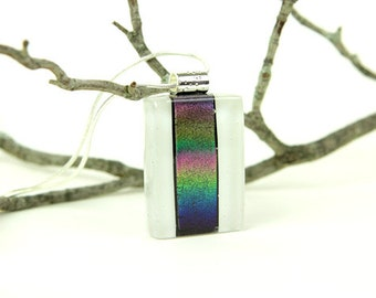 Cobalt Blue- Rainbow Dichroic Pendant- Fused Glass Pendant- Fused Glass Necklace-Dichroic Jewelry