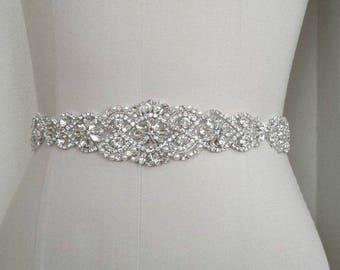 Bridal sash /wedding gown sash /wedding dress sash/ rhinestone bling