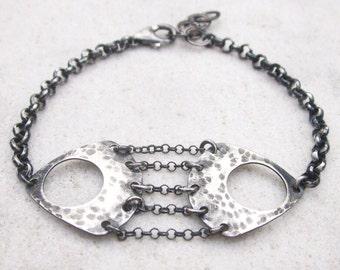 Modern silver bracelet, hammered silver bracelet, minimal stacking bracelet, metalwork, geometric bracelet, oxidized sterling silver, OOAK