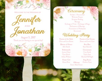 Wedding Program Fans Printable or Printed/Assembled with FREE Shipping - Blush Pink and Gold Collection