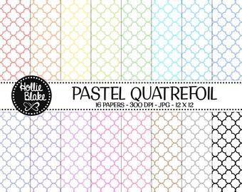 50% off SALE!! 16 Pastel Quatrefoil Digital Paper • Rainbow Digital Paper • Commercial Use • Instant Download • #QUATREFOIL-101-1-P