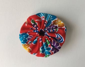 Yo-yo 2 Way Clip - Small Hair clip and Brooch Pin - Kimono Fabric, Japanese Hair Accessory, Yo-yo Brooch, Red, Blue, Flower, Cute, Handmade