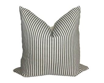Ticking Stripe Pillow Cover Neutral Pillow Covers Brass Zipper Designer Pillow Cover