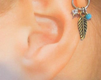 Helix Cartilage Feather Antique color Bendable..18g..8mm Ring